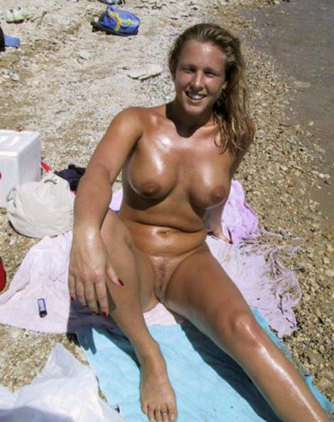 Sweet nordish blond babe caught naked on southern beaches showing her nice furry snatch and big excited tits