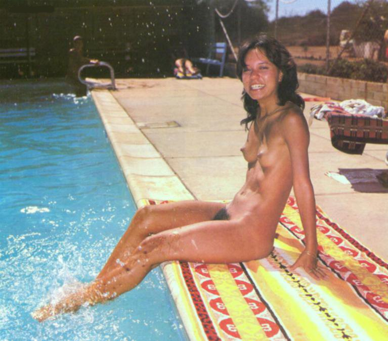 Wild retro nudist young girl reveal her dark bushes and nice perky small breasts
