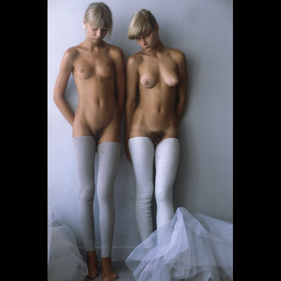 Sweet twin models with white stocking perfect tits and hairy pussy