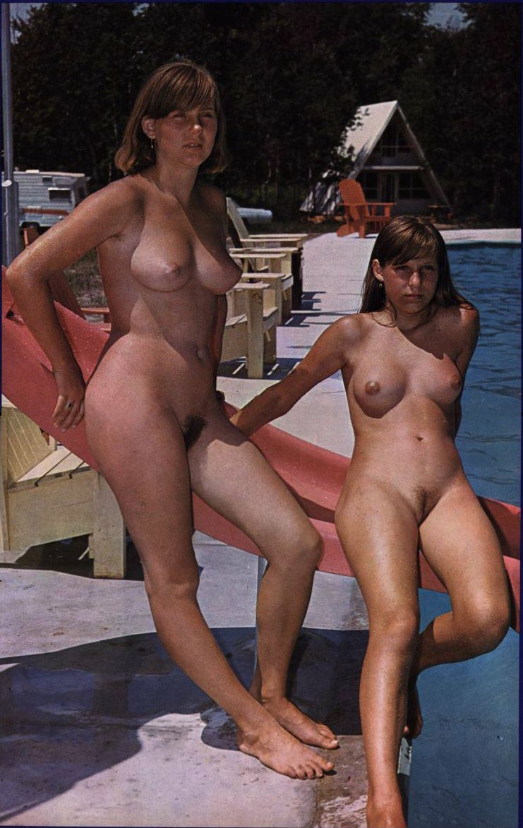 Mom and daughter caught nude with furry muffs and perky nice breasts on family nudist camp