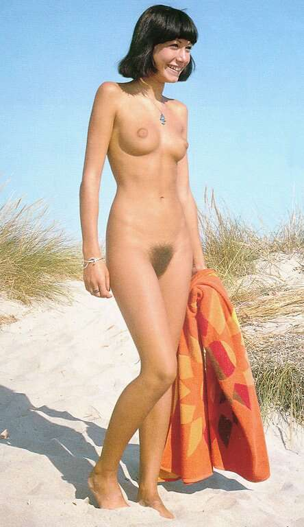 Young native nudist showing off her hairy muff and perky bloomers