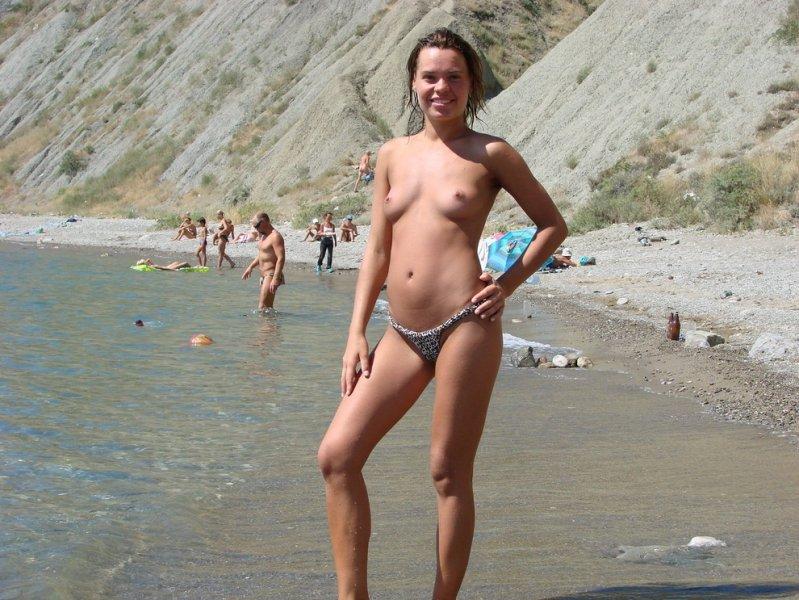Sexy girl posing topless