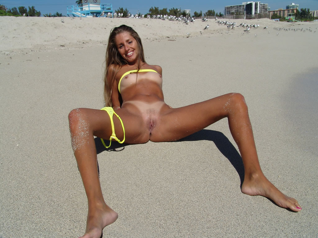 Yellow bikini were taken off for the peepers