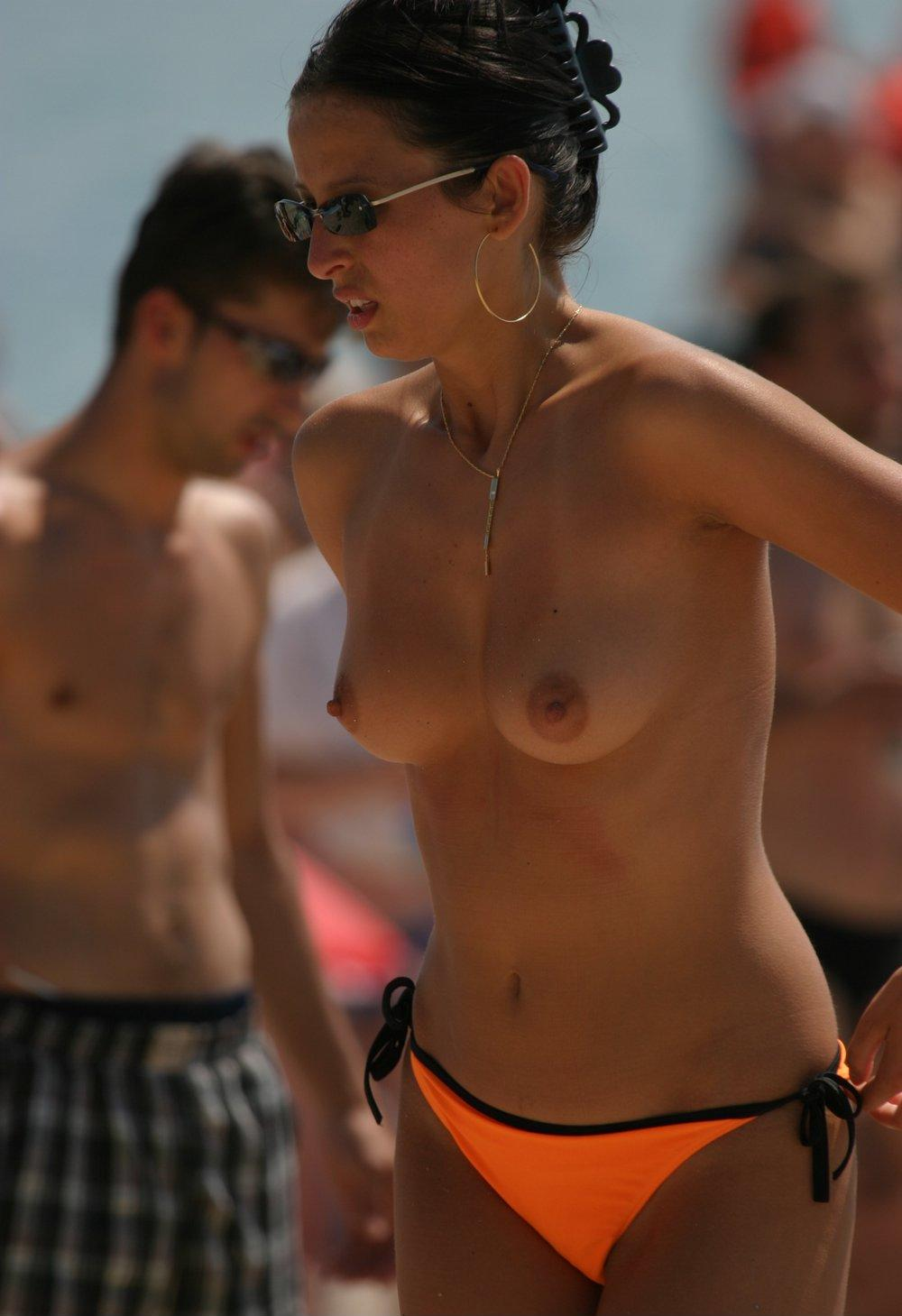 Orange panties and aroused nipples in our view