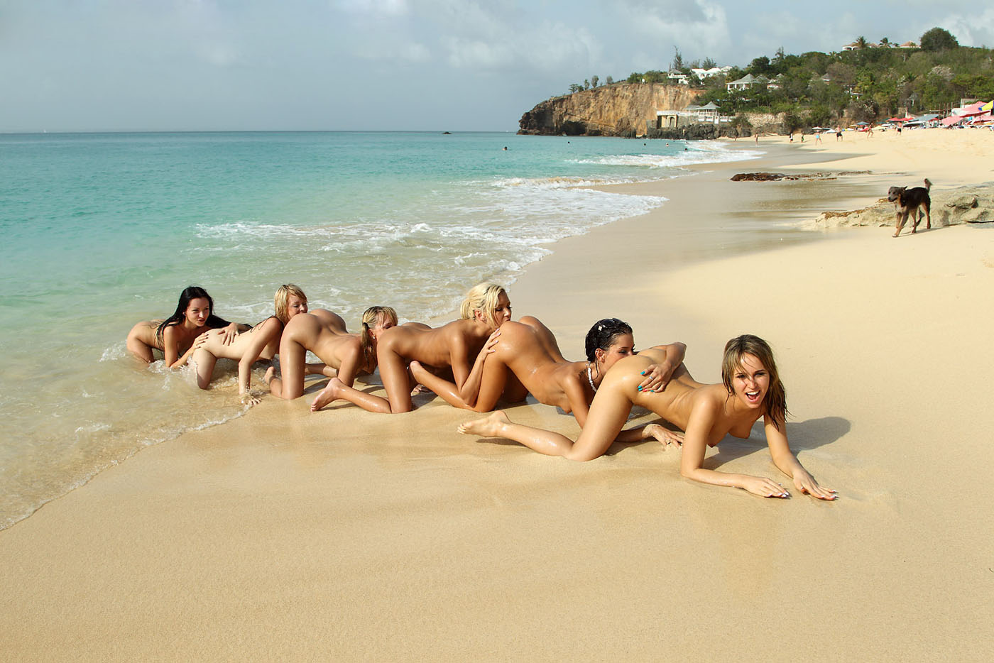 Wild girls on beach playing
