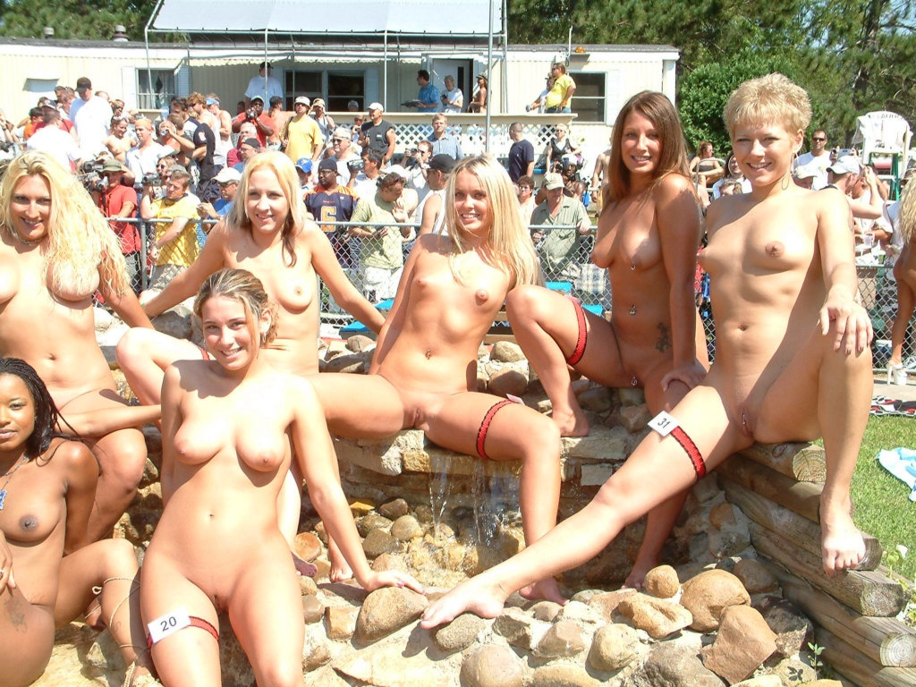 Hot nude babes at a beauty contest