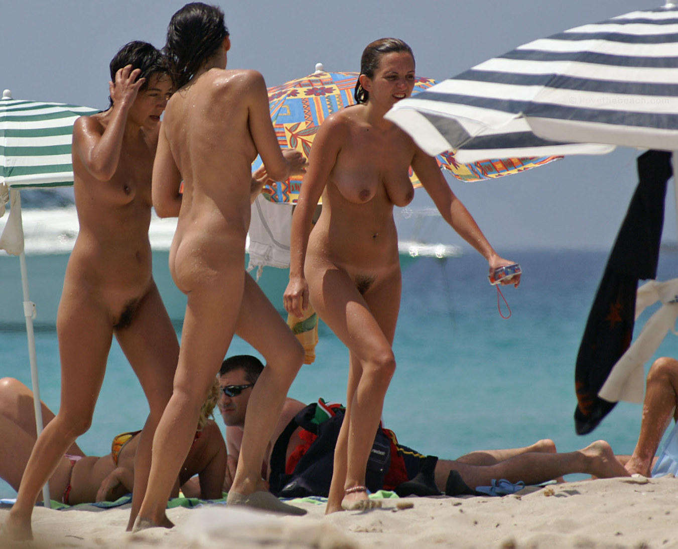 Nude hotties on the sunny beach exposed