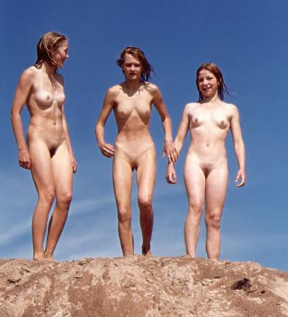 Amazing skinny females at the nudist beach with small cute bosoms perky nips and tasty pussies