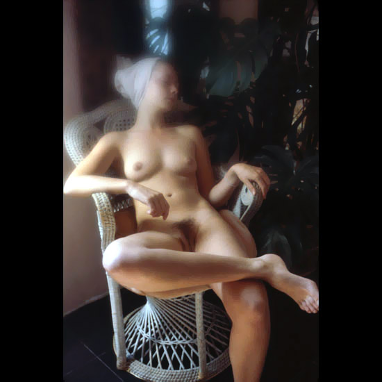 Exotic picture of a gorgeous crumpet sleeping naked on wicker chair with furry pussy and incredible bosoms