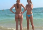 Nude and topless teens caught on wild empty beach by voyeur perverts