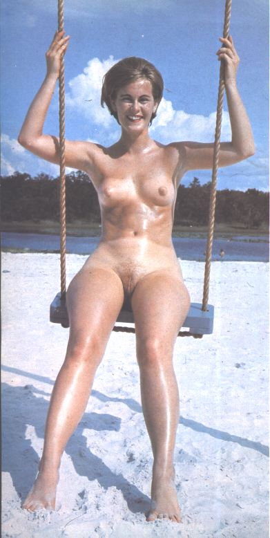 Old retro picture with a beautiful brunette woman in the lullaby show her shaved cunt and excited clitoris