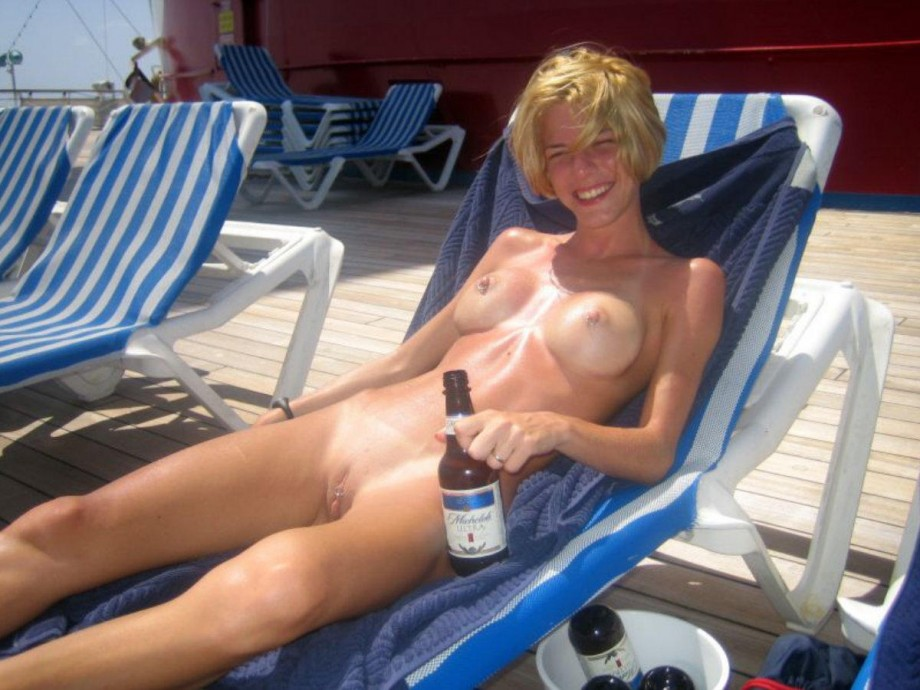 Beer drinking naked summer straw prides herself with great upper works