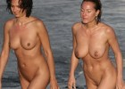 Bronzed milfs on their way to the seashore