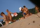 Inelegant nudists preoccupies an obsessed voyeur