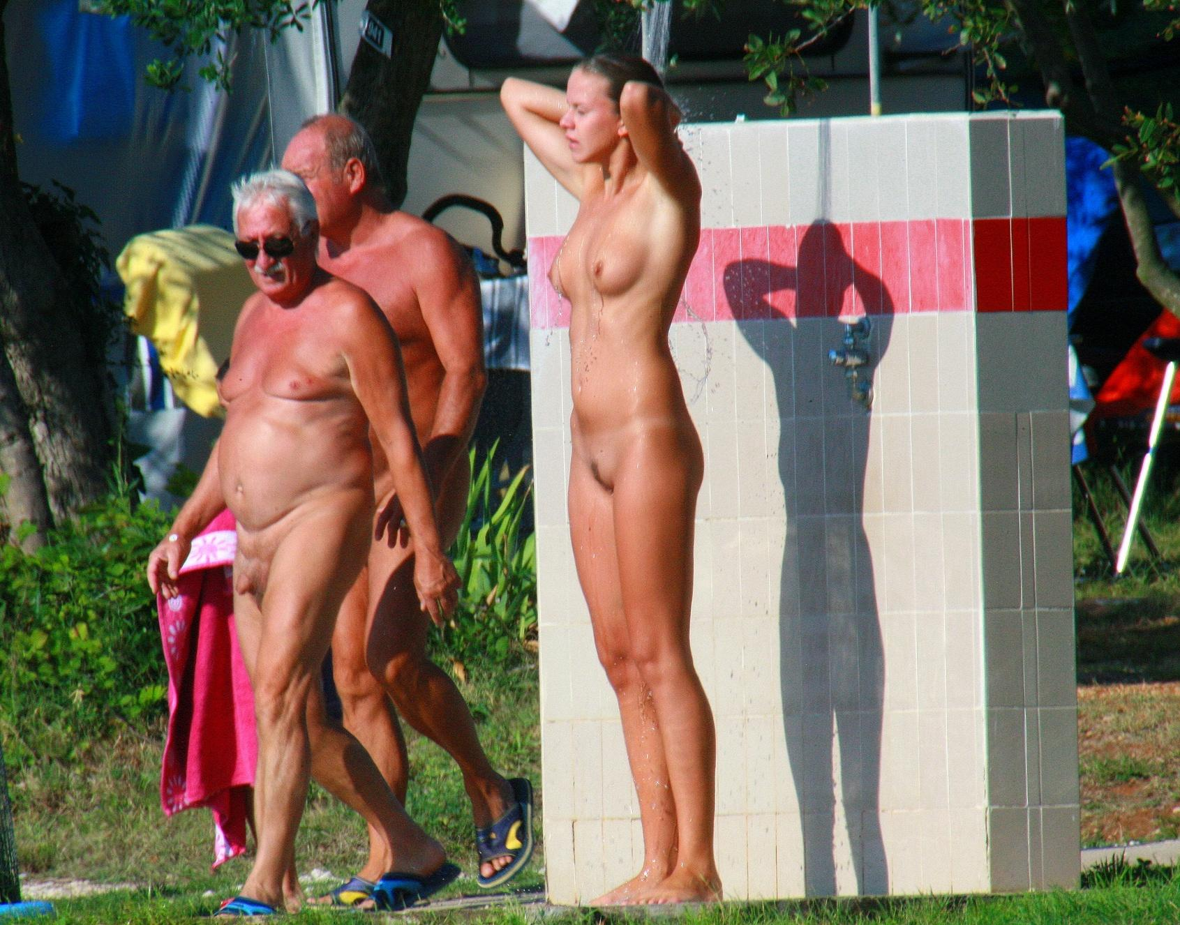 Naked gramps spoil perfect shower photo of hot pretty chick