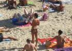 Topless bikini babe with great body