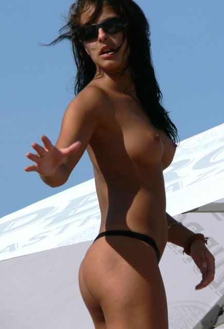Topless beauty with sunglasses